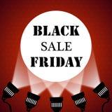 Black friday sale background projector spotlights Stock Photo