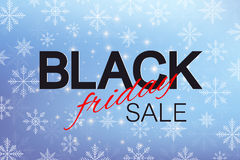 Black Friday Sale background. Promotional banner design. Winter blue background with snowflakes. Vector illustration. Black Friday Sale background. Promotional Stock Images