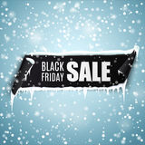Black Friday Sale background with realistic curved ribbon banner, icicles and snow. Black Friday Sale background with black realistic curved ribbon banner Stock Photos