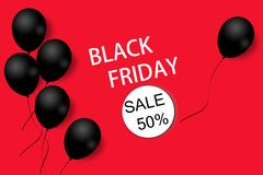 Black Friday sale background template. Red background with black balloons for seasonal discount offer. Illustration. Pattern stock illustration