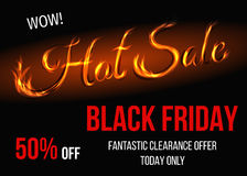 Black Friday sale background with text from fire. Black Friday hot sale background with sign from fire. Big discount poster. Vector illustration Stock Photo