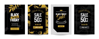 Black friday sale backgrounds. Black friday sale cards. Set of mobile banners for online shopping. Vector illustrations for website and mobile website social Royalty Free Stock Photography