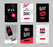 Black friday sale backgrounds. Black friday sale cards. Set of mobile banners for online shopping. Vector illustrations for website and mobile website social Royalty Free Stock Images
