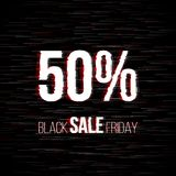 Black friday sale badge with glitch effect. And 50 percent discount price offer for your shop tags and posters Royalty Free Stock Photos