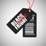 Black friday sale badge. With inscription and barcode isolated on gray background Royalty Free Stock Images