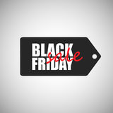 Black friday sale badge. Black friday sale white inscription on badge black color isolated on grey background Royalty Free Stock Photo