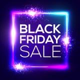 Black Friday Sale bakgrund Neonshoppingtecken Royaltyfri Bild