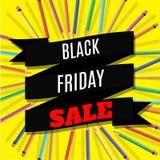 Black Friday Sale baner med bandet och blyertspennor på gul bakgrund också vektor för coreldrawillustration vektor illustrationer
