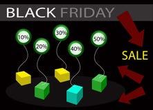 Black Friday Sale baner med procentsatsrabatt Arkivbild