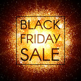 Black Friday sale banner on abstract explosion background with gold glittering elements. Burst of glowing star. Dust Royalty Free Stock Image