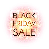Black Friday sale banner on abstract explosion background with gold glittering elements. Discount poster. Dust firework Stock Images