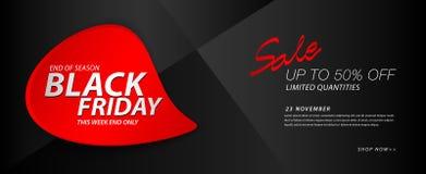 Black friday sale banner, Ads, header banner, gift voucher, Discount card, promotion poster, advertisement, marketing, tags. Vector illustration Stock Images