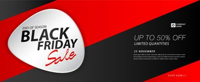 Black friday sale banner, Ads, header banner, gift voucher, Discount card, promotion poster, advertisement, marketing, tags. Sticker, brochure, flyer vector Royalty Free Stock Photo
