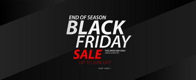 Black friday sale banner, Ads, header banner, gift voucher, Discount card, promotion poster, advertisement, marketing, tags. Sticker, brochure, flyer vector Royalty Free Stock Image