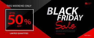 Black friday sale banner, Ads, header banner, gift voucher, Discount card, promotion poster, advertisement, marketing, tags. Sticker, brochure, flyer vector stock illustration