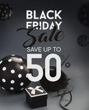 Black Friday sale banner. Black Friday sale banner, with black balloons and grey background Stock Images