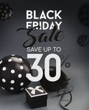 Black Friday sale banner, with black balloons. Black Friday sale banner, with black balloons and grey background Royalty Free Stock Photo