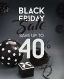Black Friday sale banner, with black balloons. Black Friday sale banner, with black balloons and grey background Stock Image