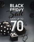 Black Friday sale banner, with black balloons. Black Friday sale banner, with black balloons and grey background Stock Photo