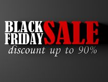 Black Friday sale banner. Black Friday sale banner with 90 percent discount. 3D render illustration royalty free illustration
