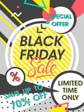 Black friday sale banner. Special offer with geometric elements in memphis style. Sale template perfect for prints, flyers,banners, promotion,special offer,ads Royalty Free Stock Image