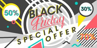 Black friday sale banner. Special offer with geometric elements in memphis style. Sale template perfect for prints, flyers,banners, promotion,special offer,ads Royalty Free Stock Photos
