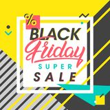Black friday sale banner. Special offer with geometric elements in memphis style. Sale template perfect for prints, flyers,banners, promotion,special offer,ads Royalty Free Stock Photography