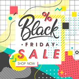 Black friday sale banner. Special offer with geometric elements and shapes in memphis style. Sale template perfect for prints; flyers; banners; promotion Stock Image