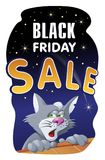 Black Friday sale banner with a cat on the roof. Cartoon styled vector illustration. Elements is grouped and divided into layers Royalty Free Stock Photography