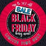 Black friday sale banner on color patterned background, vector Stock Images