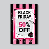 Black Friday Sale Banner With Copy Space Pink Template Poster Grunge Design Shopping Discount Concept Royalty Free Stock Images