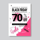 Black Friday Sale Banner With Copy Space Pink Template Poster Grunge Design Shopping Discount Concept Royalty Free Stock Photography