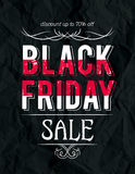 Black friday sale banner on crumple paper, vector Royalty Free Stock Image