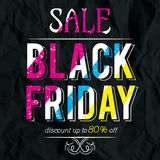 Black friday sale banner on crumple paper, vector Stock Images