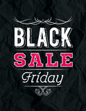 Black friday sale banner on crumple paper, vector Royalty Free Stock Photo