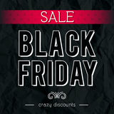 Black friday sale banner on crumple paper, vector Royalty Free Stock Photos
