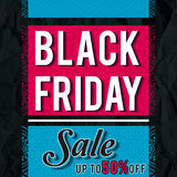 Black friday sale banner on crumple paper, vector Stock Photography