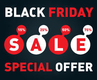 Black friday sale banner on dark background. Discount card Vecto Royalty Free Stock Photography