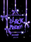 Black friday Sale banner with decorative ribbons and bows. Stock Photography