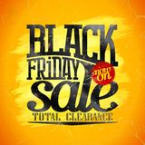 Black friday sale banner design, total clearance stock illustration