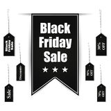 Black friday sale banner design set with tags Royalty Free Stock Image