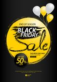 Black friday sale banner, Discount, promotion poster, advertisement, marketing, tags, sticker, balloons, brochure, leaflet, flyer. Black friday sale banner Stock Image