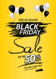 Black friday sale banner, Discount, promotion poster, advertisement, marketing, tags, sticker, balloons, brochure, leaflet, flyer. Black friday sale banner Royalty Free Stock Photos