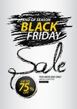 Black friday sale banner, Discount, promotion poster, advertisement, marketing, tags, sticker, balloons, brochure, leaflet, flyer. Black friday sale banner Royalty Free Stock Photography