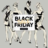 Black Friday sale banner with fashion girls, beautiful woman models social media ads web template collection. Vector illustration. For website, mobile banner Royalty Free Stock Photography
