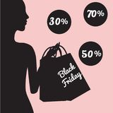Black friday sale banner with fashionable woman silhouette. Black friday sale banner with fashionable woman silhouette holding shopping bags on pink background Royalty Free Stock Image