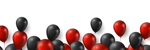 Black Friday sale banner with glossy red and black balloons on white background, vector illustration. Black Friday sale banner with glossy red and black royalty free illustration