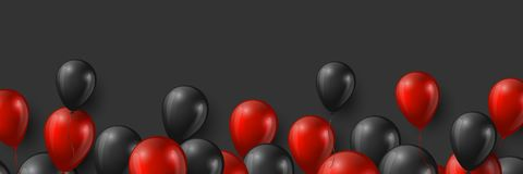 Black Friday sale banner with glossy red and black balloons on dark background, vector illustration. Black Friday sale banner with glossy red and black balloons stock illustration