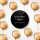 Black friday sale banner. Gold foil balloons. Vector illustration. Royalty Free Stock Photos