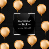 Black friday sale banner. Gold foil balloons. White border. Vector illustration. Black Background Stock Images